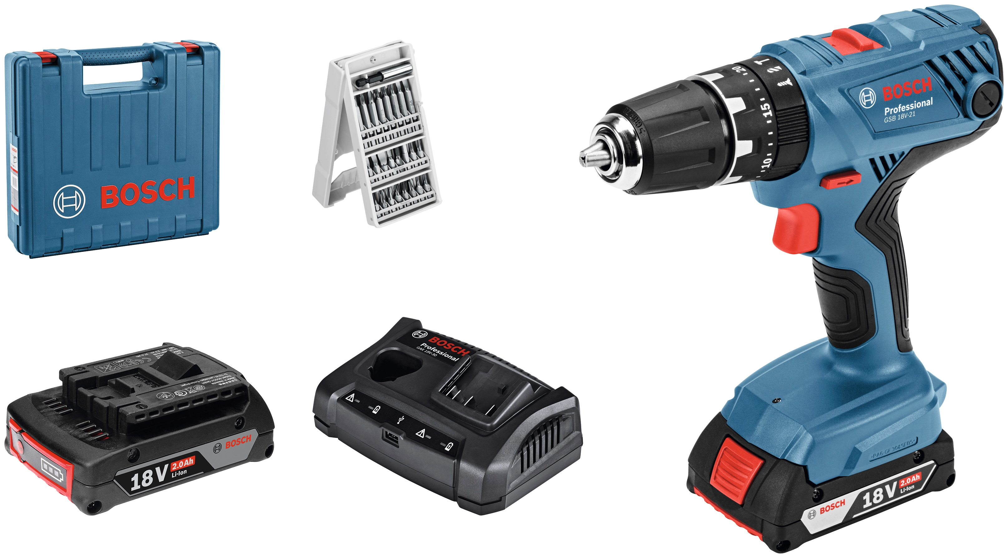 BOSCH PROFESSIONAL Set: Akku-Schlagbohrschrauber »GSB 18V-21«, mit 2. Akku, Ladegerät und 25-tlg. Bit-Set, im Koffer   Baumarkt > Werkzeug > Werkzeug-Sets   Blau   BOSCH PROFESSIONAL