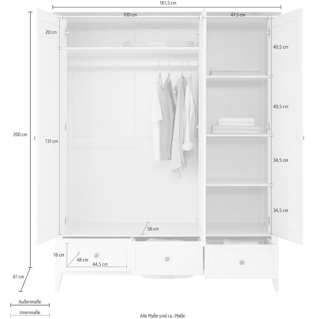 """Home affaire Kleiderschrank »Penny«, Kleiderschrank """"Penny"""" 3 Türen, 3 Schubladen und Kleiderstange"""