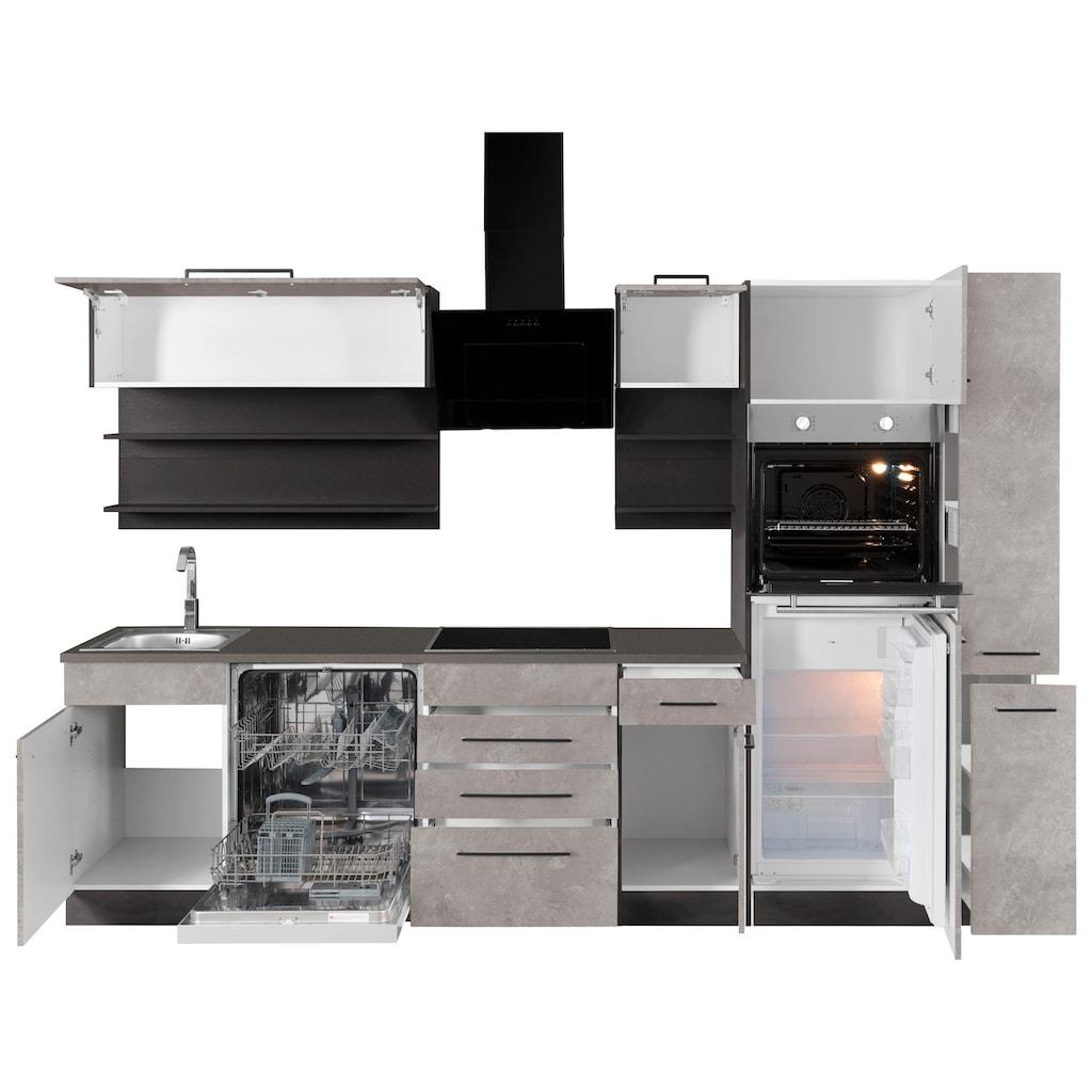 HELD MÖBEL Küchenzeile »Tulsa«, mit E-Geräten, Breite 300 cm, schwarze Metallgriffe, hochwertige MDF Fronten