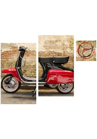 Conni Oberkircher´s Bild »Vintage Motorcycle«, Fahrzeuge, (Set), mit dekorativer Uhr kaufen