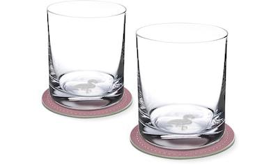 Contento Whiskyglas, (Set, 4 tlg., 2 Whiskygläser und 2 Untersetzer), Flamingo, 400... kaufen