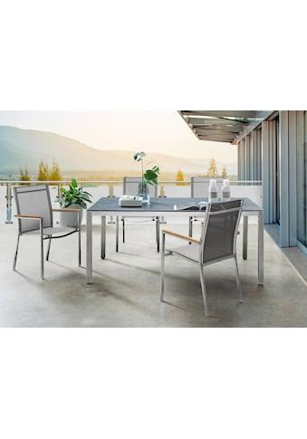 DESTINY Essgruppe »Macao - Sao Paulo«, 5 - tlg., 4 Stühle, Tisch 210x100cm, Alu/Polyrattan kaufen