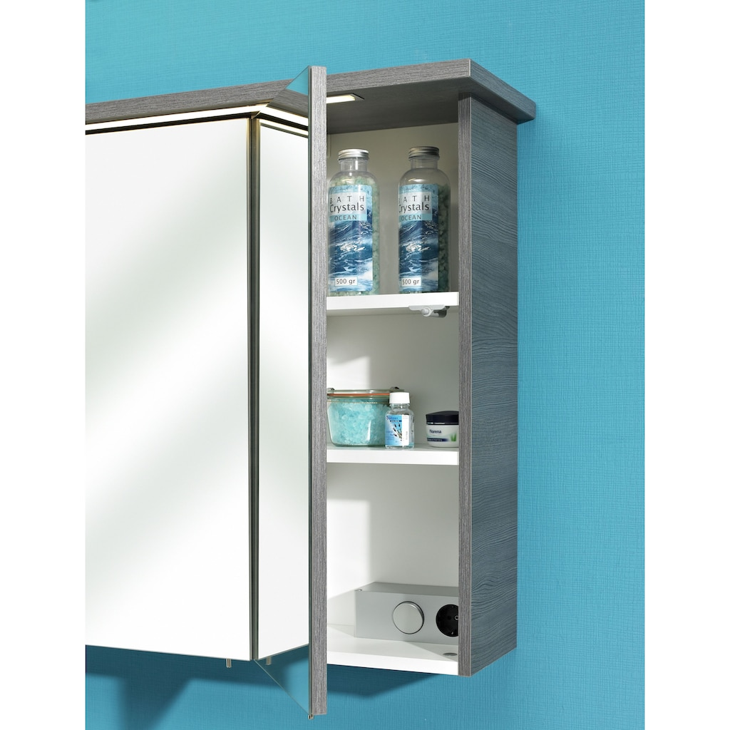 PELIPAL Badmöbel-Set »Alika«, (2 St.), Spiegelschrank inkl. LED-Beleuchtung, Waschtisch-Kombination, Mineralgussbecken, Metallgriffe, Türdämpfer
