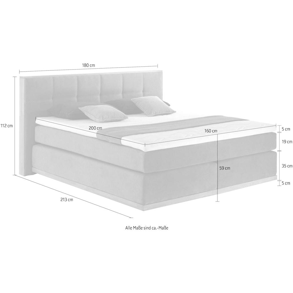 Places of Style Boxspringbett »Vinton«, (5 tlg.), aus massiver Eiche, verschiedene Härtegrade (auch H4)