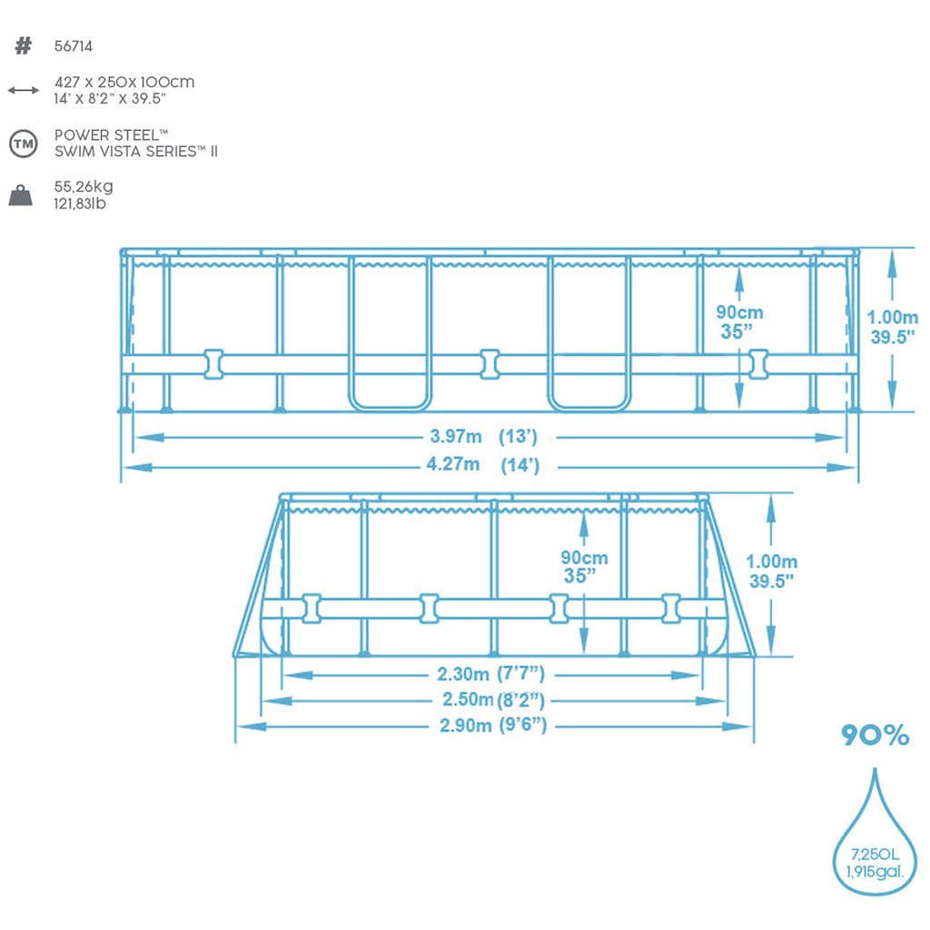 Bestway Ovalpool »Power Steel™ Swim Vista Series™ Frame«, (Set), BxLxH: 250x427x100 cm