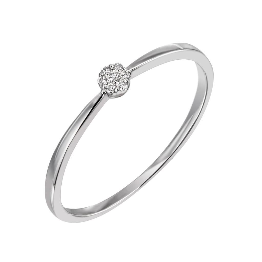 Firetti Diamantring »ca. 1,5 mm breit, Glanzoptik, teilw. rhodiniert, massiv«, mit Brillanten