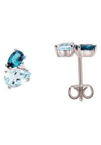 Firetti Paar Ohrstecker, mit Blautopas (behandelt), Blautopas London Blue (behandelt) und Brillanten kaufen