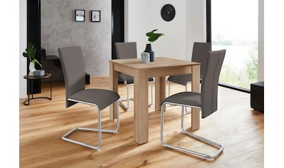 Homexperts Essgruppe »Nick1-Mulan«, (Set, 5 tlg.), Tisch in eichefarben sägerau,... kaufen
