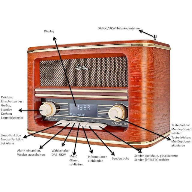 Dual »NR 1 DAB Nostalgie« Radio (Digitalradio (DAB+),UKW mit RDS)