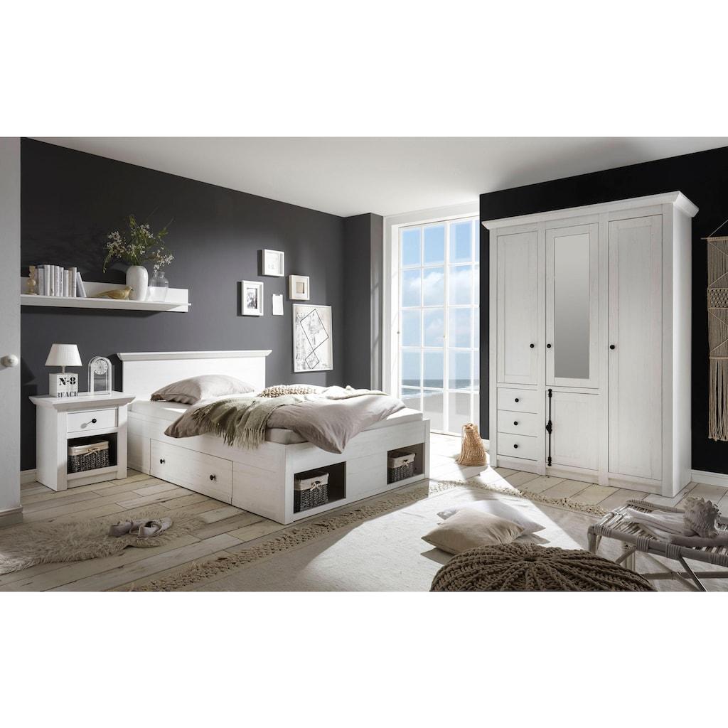 Home affaire Schlafzimmer-Set »California«, (Set, 3 tlg.), klein, Bett 140 cm, 1 Nachttisch und 3-trg Kleiderschrank