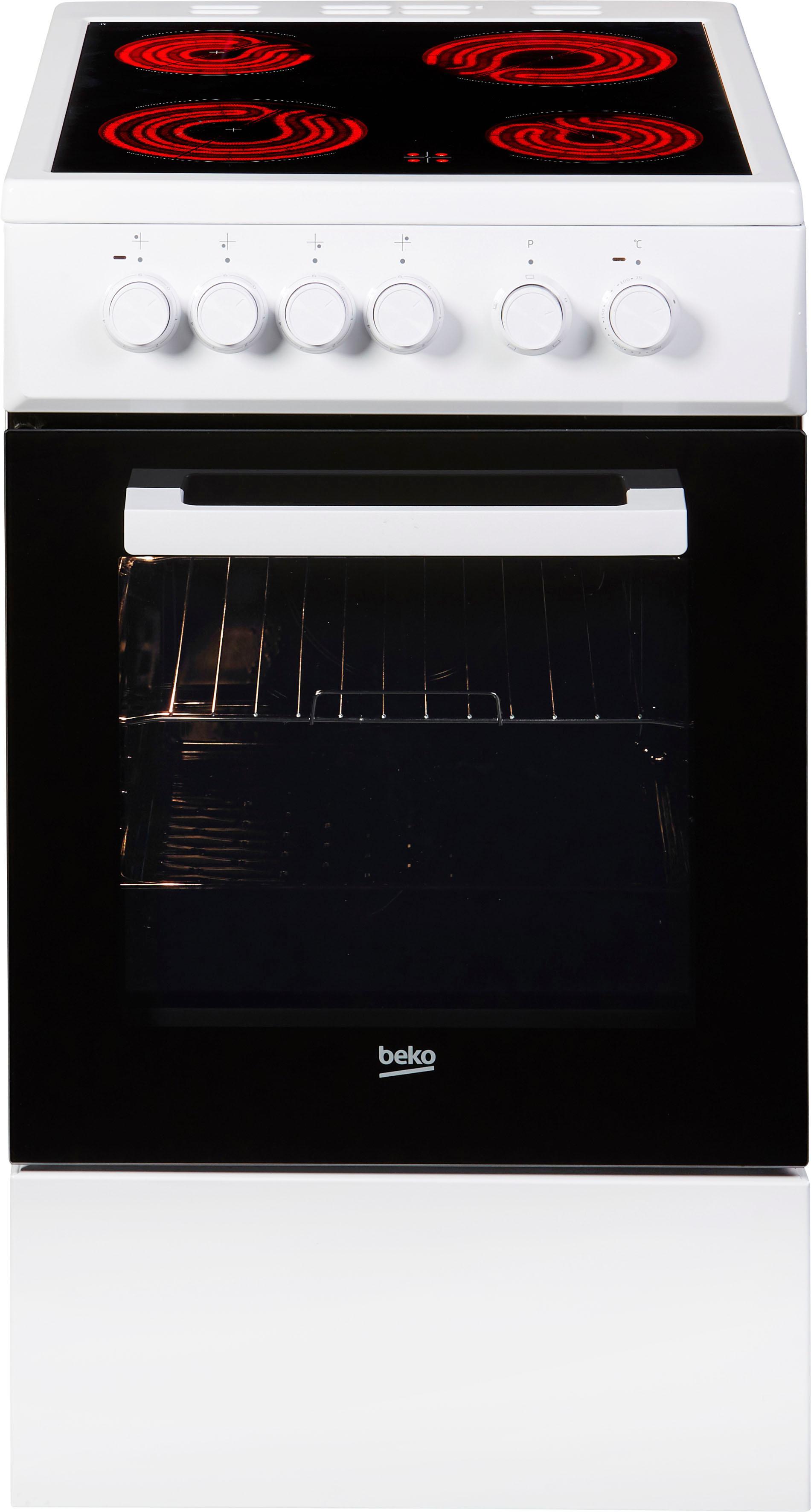 BEKO Elektro-Standherd »FSS57000GW«, FSS57000GW, mit Backauszug, Simple Steam Reinigungsfunktion, mit Kleinflächengrill