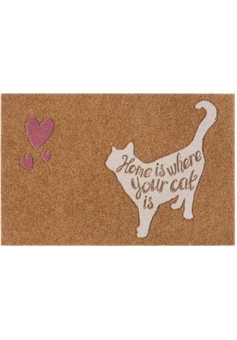 my home Fußmatte »Katze mit herz«, rechteckig, 10 mm Höhe, Fussabstreifer, Fussabtreter, Schmutzfangläufer, Schmutzfangmatte, Schmutzfangteppich, Schmutzmatte, Türmatte, Türvorleger, mit Spruch, In- und Outdoor geeignet, Kokos-Optik kaufen