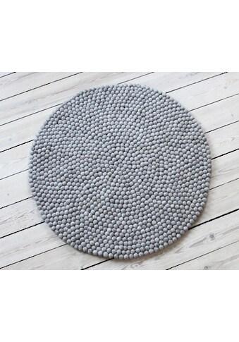 Wooldot Wollteppich »Uni Color«, rund, 23 mm Höhe, Filzkugel-Teppich, reine Wolle, beidseitig verwendbar kaufen