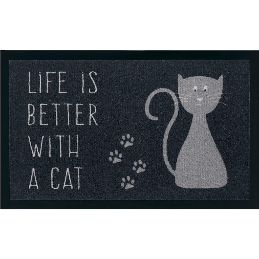 my home Fußmatte »Katze«, rechteckig, 5 mm Höhe, Schmutzfangmatte, mit Spruch