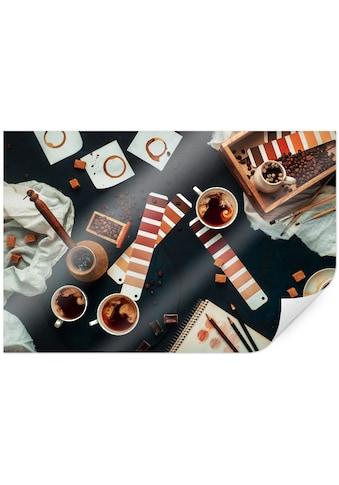 Wall-Art Poster »Farbkarte Kaffee Bilder Coffee«, Kaffee, (1 St.), Poster, Wandbild,... kaufen