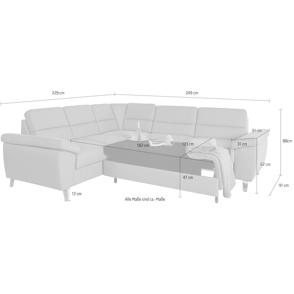 sit&more Ecksofa, wahlweise mit Bett- und Relaxfunktion, inkl. Bettkasten