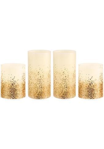 Pauleen LED-Kerze »Golden Glitter«, Wachskerze, Time, elfenbein/Glitzer goldfb. kaufen