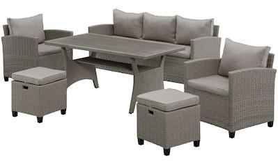 KONIFERA Loungeset »Amsterdam«, (16 tlg.), 3er Sofa, 2 Sessel, 2 Hocker, Tisch,... kaufen