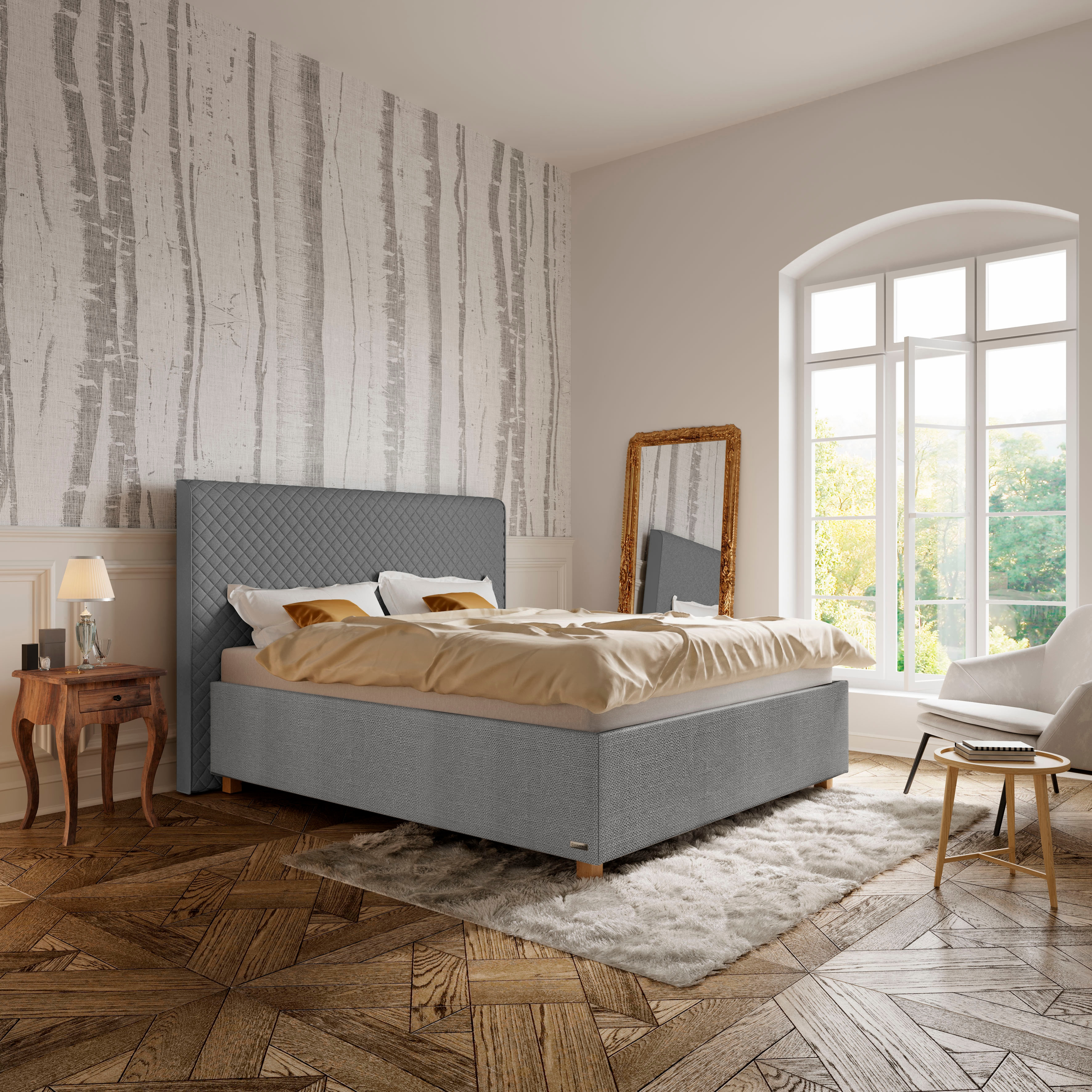 Schlaraffia Polsterbett »Arabella«, Kopfteil Grey, Holzfuß Eiche günstig online kaufen