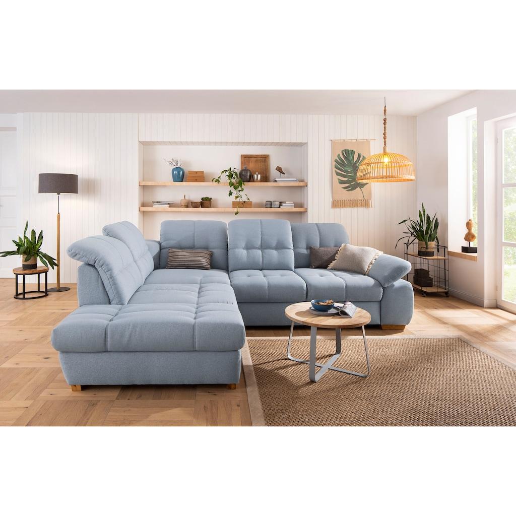Home affaire Ecksofa »Lotus Home«, incl. Sitztiefenverstellung, wahlweise mit Kopfteil- und Armlehnverstellung, Bettfunktion und Stauraum