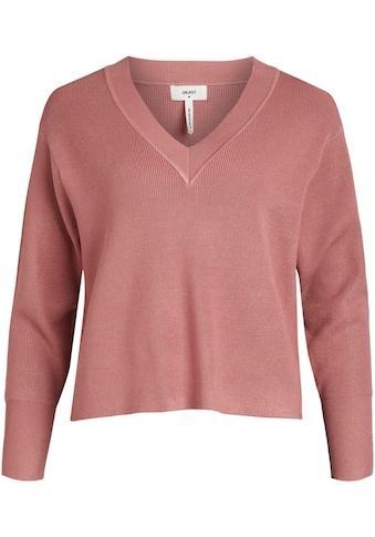 Object V-Ausschnitt-Pullover, in feinem Rippstrick kaufen
