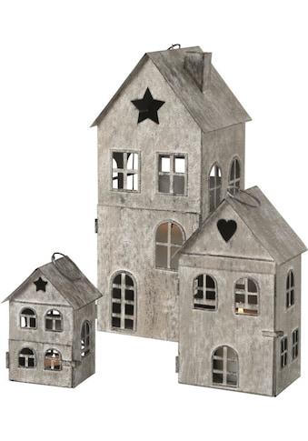 BOLTZE Laterne »Kalana«, aus Eisen, lackiert, in Form von weihnachtlichen Häuschen kaufen