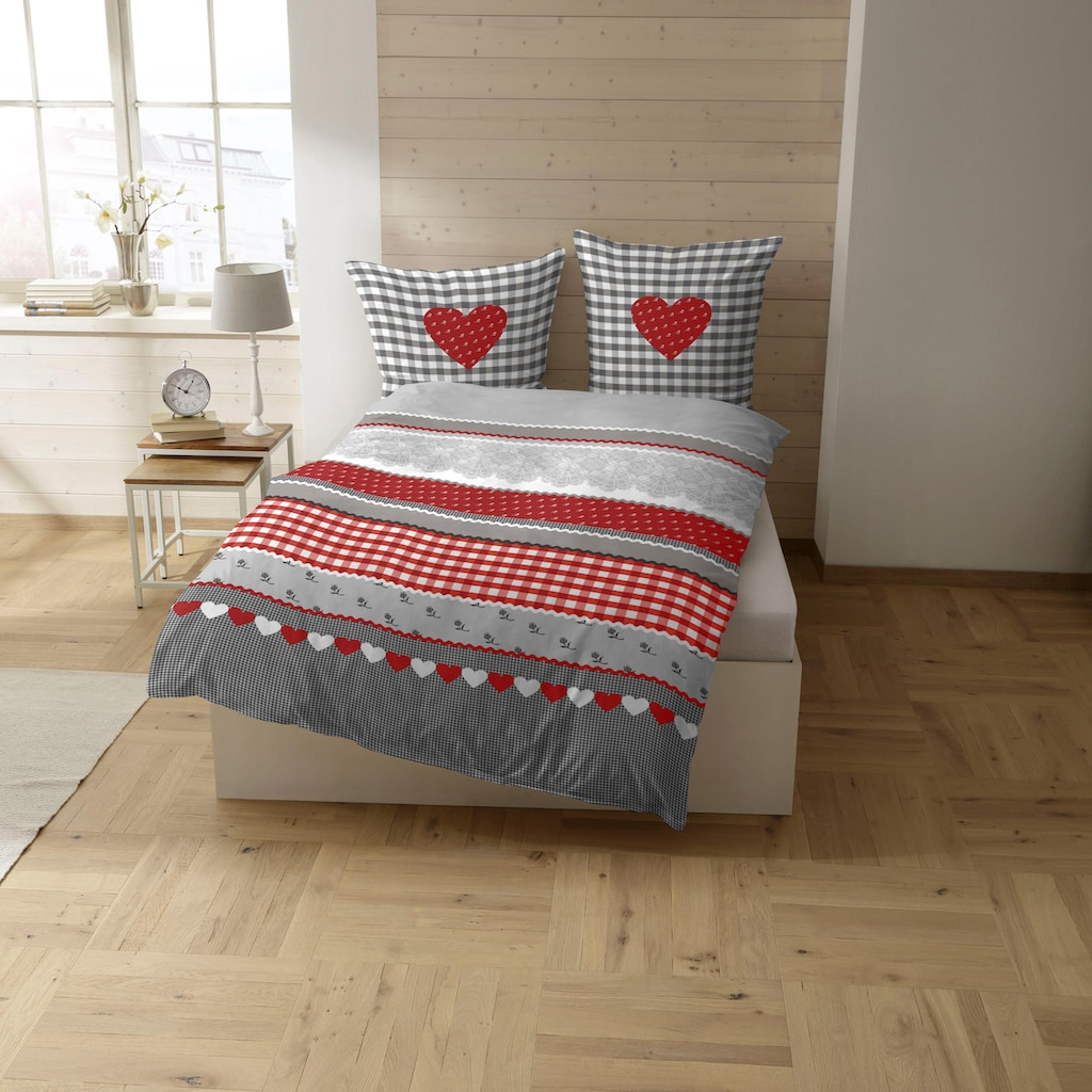 CASATEX Bettwäsche »Herz-Karo«, mit niedlichem Herz-Karo Design