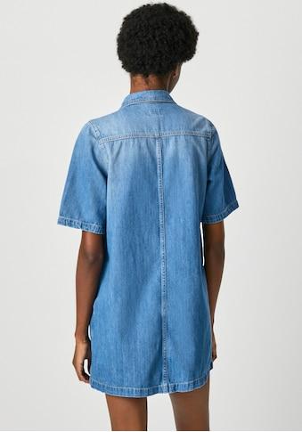 Pepe Jeans Jeanskleid »HOLLY«, mit kurzen A-Linien Ärmeln, kontrastfarbenen Nähten und... kaufen