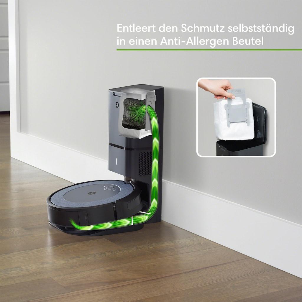 iRobot Saugroboter »Roomba® i3+ (i3558) WLAN-fähiger Saugroboter mit automatischer Absaugstation«, Ideal für Allergiker mit zusätzlichem Filter und Anti-Allergen Beutel, zwei Gummibürsten für alle Böden