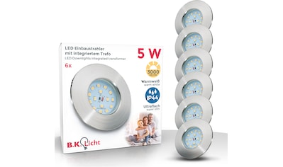B.K.Licht LED Einbauleuchte, LED-Board, 6 St., Warmweiß, LED Einbaustrahler ultra flach 6 x 5W 400 Lumen 3.000K LED Einbauspot Bad Deckenspot IP44 kaufen