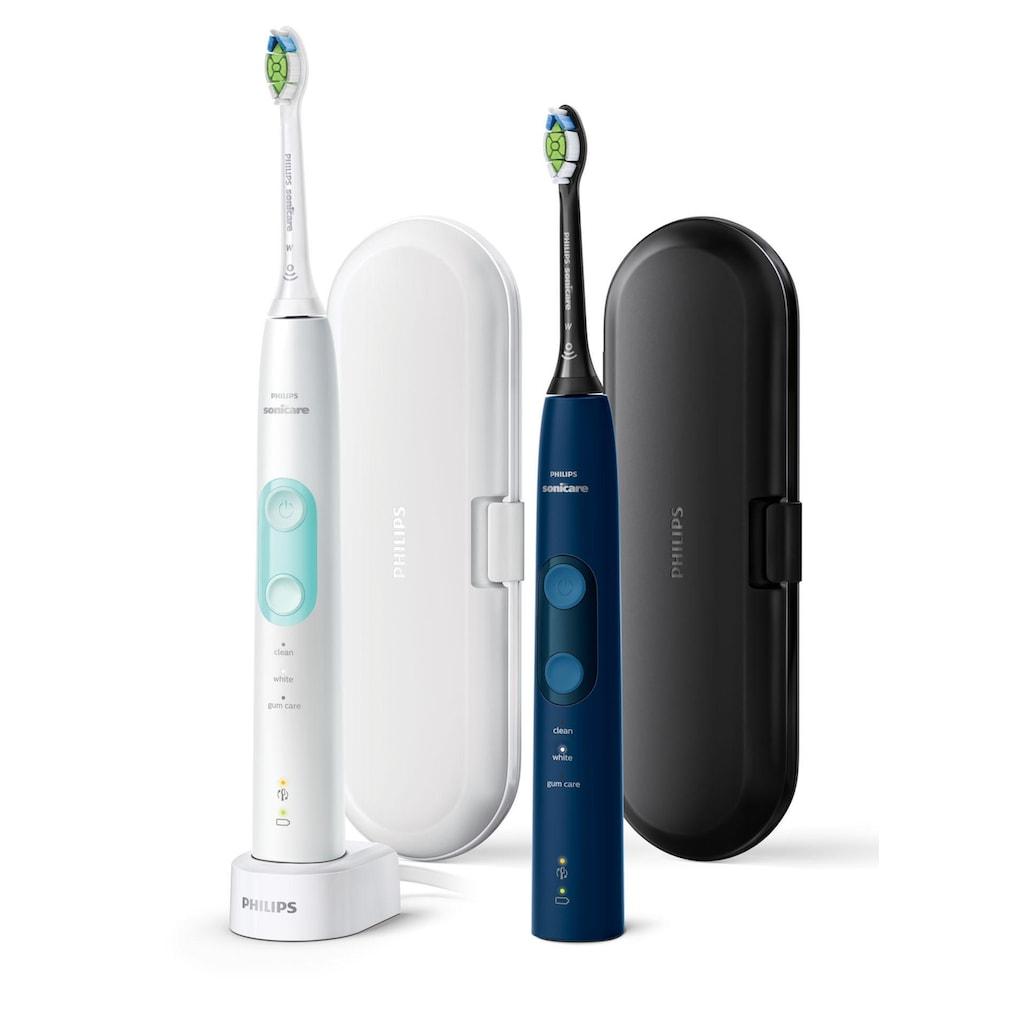 Philips Sonicare Elektrische Zahnbürste »HX6851/34«, 2 St. Aufsteckbürsten, ProtectiveClean 5100, Schallzahnbürste, 3 Putzprogramme, inkl. 2 Reiseetuis & Ladegerät, weiß & blau