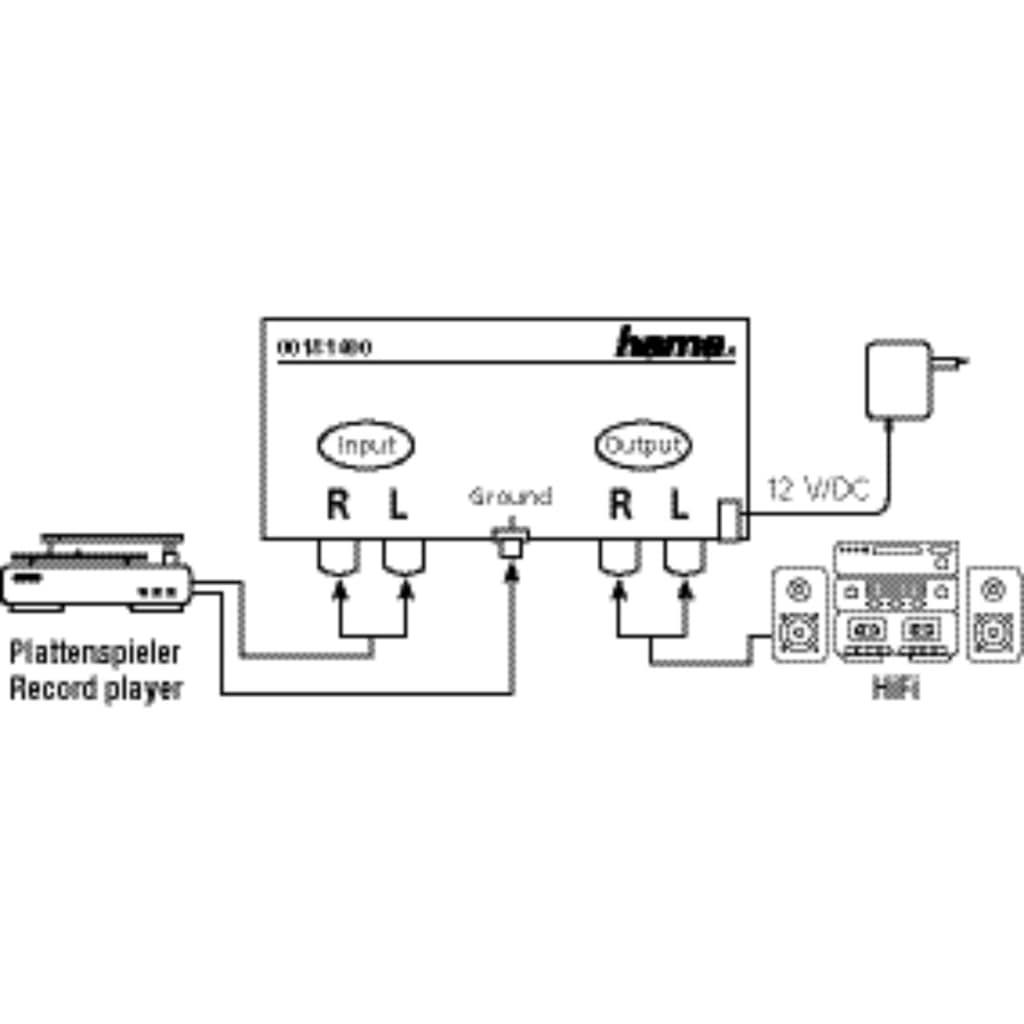 Hama Stereo-Phono-Vorverstärker, mit Netzgerät 230 V/50