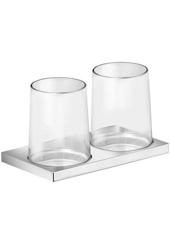 KEUCO Zahnputzbecher »Edition 11«, mit zwei Echtkristall - Gläsern, verchromt kaufen