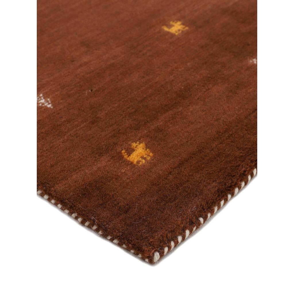 carpetfine Läufer »Gabbeh Uni«, rechteckig, 15 mm Höhe, reine Wolle, handgewebt, Gabbeh Tiermotiv