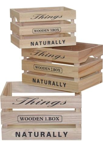Holzkiste »mit Printaufdruck, im Vintage - Look« (Set, 3 Stück) kaufen