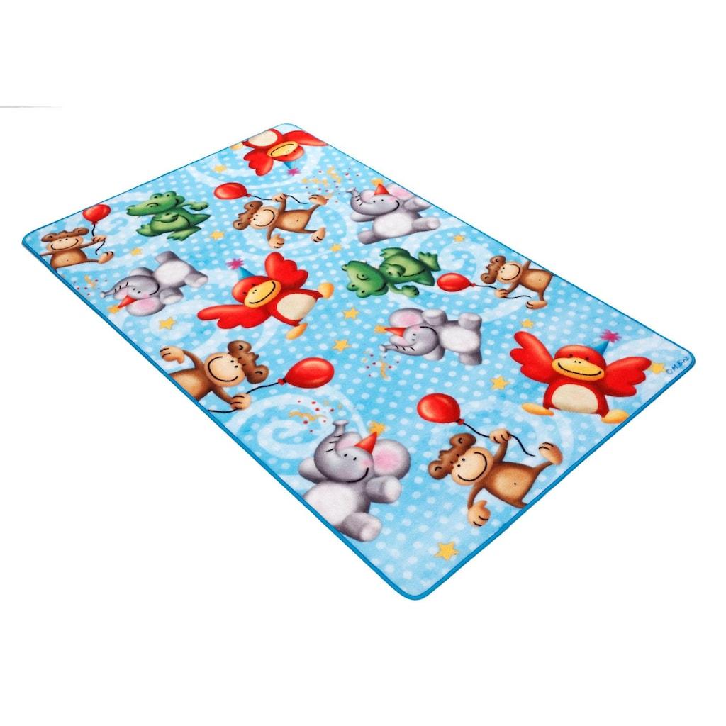 Böing Carpet Fußmatte »Lovely Kids LK-4«, rechteckig, 2 mm Höhe, Fussabstreifer, Fussabtreter, Schmutzfangläufer, Schmutzfangmatte, Schmutzfangteppich, Schmutzmatte, Türmatte, Türvorleger, Motiv Zootiere