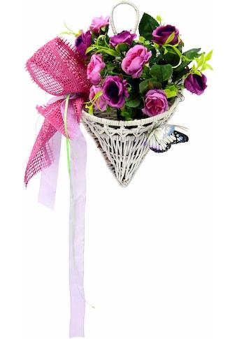 I.GE.A. Kunstpflanze »Rosen mit Schmetterling im Korb 30 cm« (1 Stück) kaufen