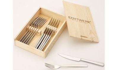 ECHTWERK Steakbesteck, (Set, 12 tlg.), Edelstahl 18/10, mit Holzkassette, 12 Teile kaufen