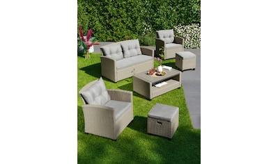 KONIFERA Loungeset »Lorca«, (16 tlg.), 2er Sofa, 2 Sessel, 2 Hocker, Tisch, Polyrattan kaufen
