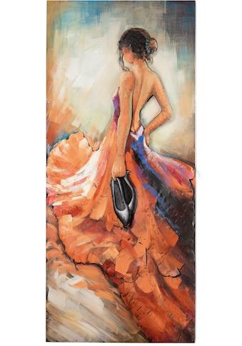 GILDE GALLERY Metallbild »Kunstobjekt Barefoot Tango«, Frau, (1 St.), handgearbeitetes 3D-Bild, 70x140 cm, aus Metall, Motiv Tänzerin, Wohnzimmer kaufen