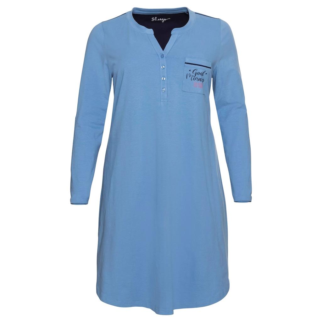 Sheego Nachthemd, mit Knopfleiste und Krempelriegel