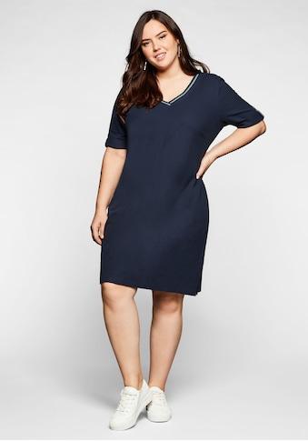 Sheego Shirtkleid, in Piqué-Qualität, mit Kontrastausschnitt kaufen