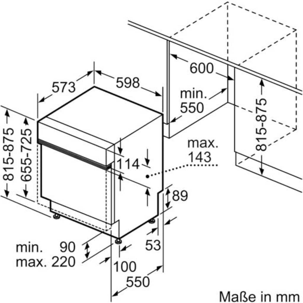 SIEMENS teilintegrierbarer Geschirrspüler »SN536S07GE«, iQ300, SN536S07GE, 9,5 l, 12 Maßgedecke