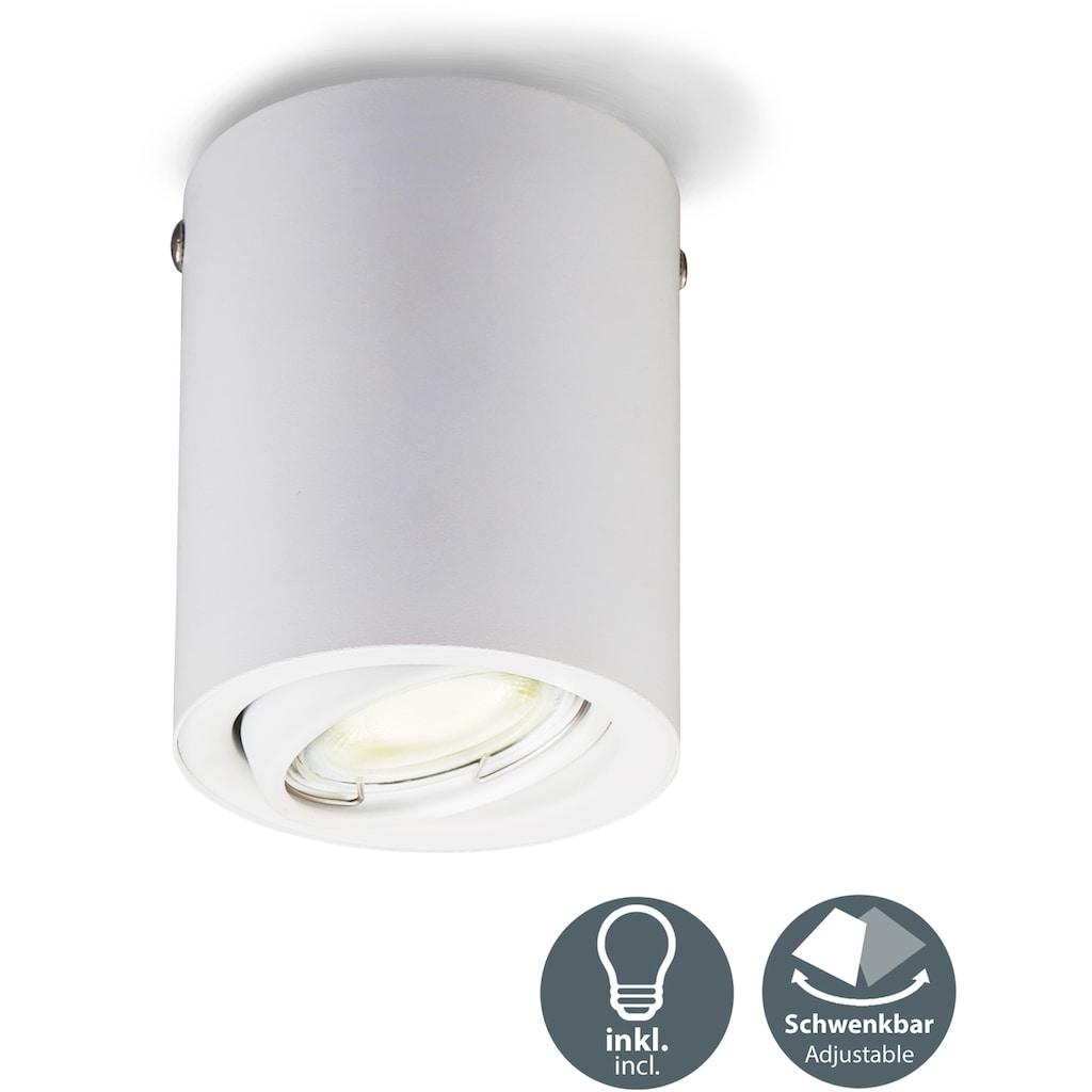 B.K.Licht LED Aufbaustrahler, GU10, Warmweiß, LED Aufbauleuchte schwenkbar inkl. 5W 400lm GU10 3.000K Deckenspot weiß