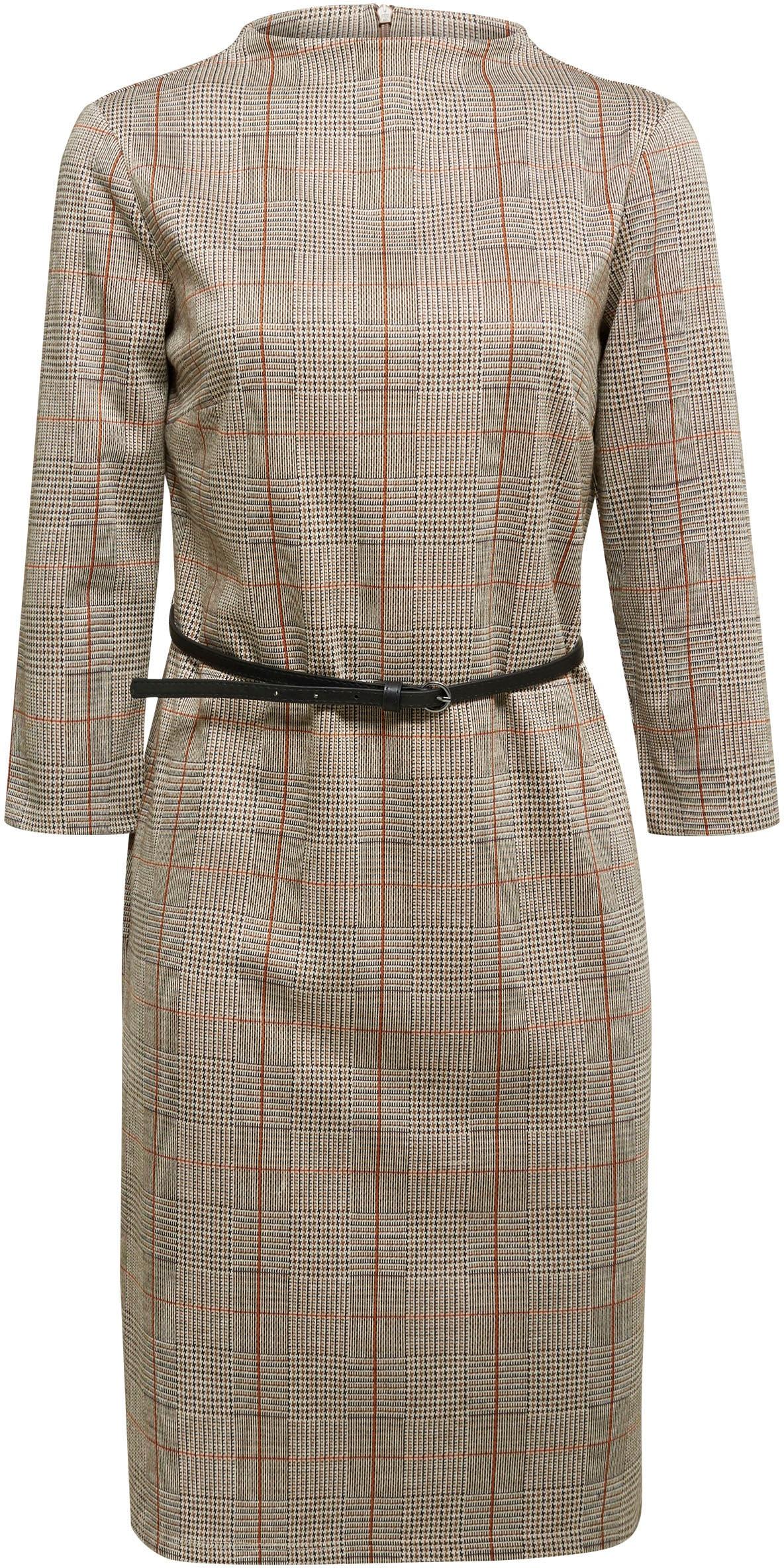 esprit collection jerseykleid, (2 tlg., mit abnehmbarem gürtel), mit  kleinem stehkragen und karo-muster