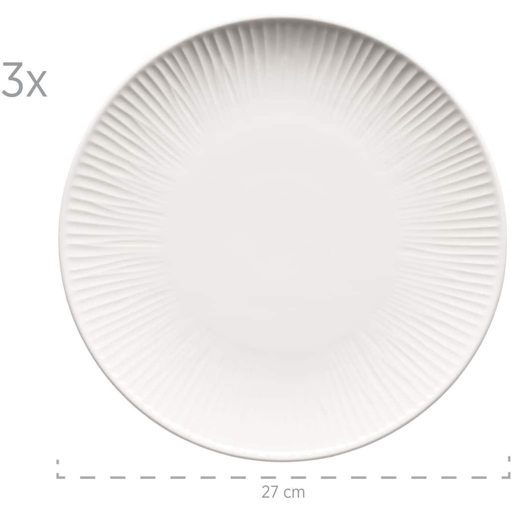 MÄSER Tafelservice »Dalia«, (Set, 12 tlg.), Vintage-Look, grau/weiß