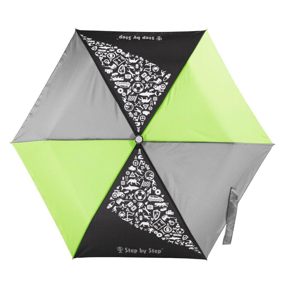 Step by Step Regenschirm Jungen Kinder Taschenschirm Grün Grau »Green & Grey Mini Rain Effect« | Accessoires > Regenschirme > Taschenschirme | STEP BY STEP