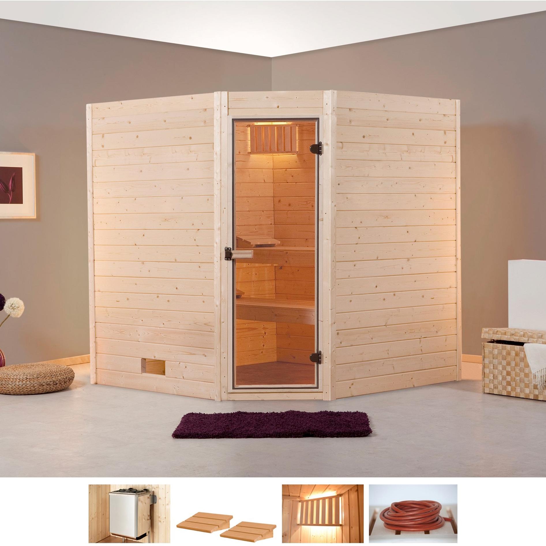 WEKA Sauna »Vaasa 2 Eck«, 189x172x203,5 cm, 9 kW Ofen mit int. Steuerung | Bad | weka