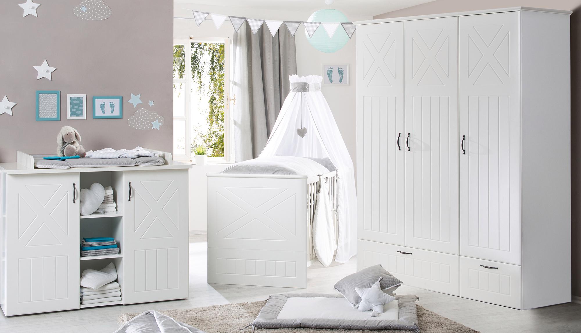 Roba Babyzimmer Set (3-tlg.), Kinderzimmer, »Constantin« | Kinderzimmer > Babymöbel > Komplett-Babyzimmer | Weiß | Abs - Metall - Spanplatte | ROBA