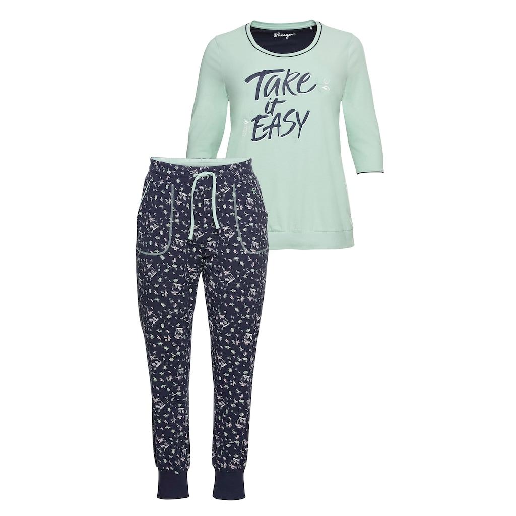 Sheego Pyjama, als 3/4-Arm-Shirt mit langer Hose